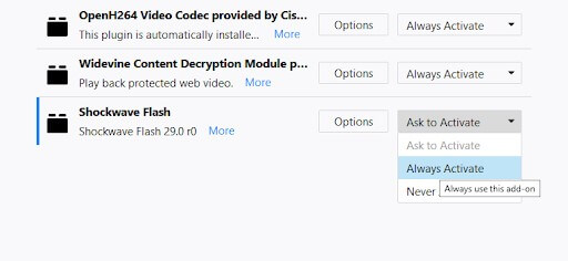 Unblock Adobe Flash Player
